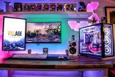 Gaming Computer Desk, Pc Gaming Setup, Pc Setup, Desk Setup, Bedroom Setup, Game Room Design, Futuristic Design, Study Office, Pc Gamer