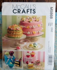 McCall's Patterns Sachets, Pin Cushions and Magnets, One Size Only, Soft Birthday Cakes, Cupcakes and Bon-Bons Crafts Sewing Pattern by SewWorksPatternsPlus on Etsy Mccalls Patterns, Sewing Patterns, Play Food, Craft Patterns, Fabric Decor, Pin Cushions, The Ordinary, Tea Party, Sewing Crafts