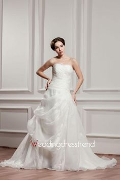 Beautiful Lovely Organza Empire Floor-Length Strapless Wedding Dress - Shop Online for Cheap Cocktail Dresses