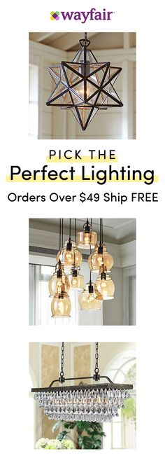 Lighting Visit Wayfair For Access To Exclusive Sales All At Up To 70 Off Save Big On Brig - Kronleuchter Dining Room Lighting, Home Lighting, Lighting Ideas, Cabin Lighting, Industrial Lighting, Bedroom Lighting, Kitchen Lighting, Room Lights, Ceiling Lights