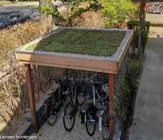 Bike Shelter, Bike Shed, Outdoor Tables, Outdoor Decor, Bike Storage, Patio Design, Home Deco, Offroad, Bicycle