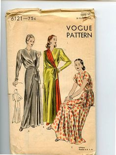 1940s Housecoat or Negligee Vogue 6121 by VioletCrownEmporium, $32.00