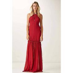 afdb1c292 Vestido vermelho longo. Modelo frente-única