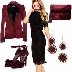 Hai un vestito di pizzo nero che vuoi mettere durante le feste ma non vuoi scadere nel banale? Prova ad indossarlo con il burgundy, colore must dell'inverno. La giacca e le scarpe in velluto e la pochette di pelliccia faranno di te la protagonista della festa!