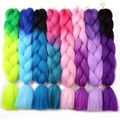 Hair Extensions & Wigs Jumbo Braids Reliable Feilimei Ombre Green Colored Crochet Hair Extensions Kanekalon Hair Synthetic Crochet Braids Ombre Jumbo Braiding Hair Extension
