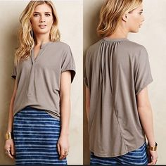 """Anthropologie Mena Tee Oversize and flowy tee from by Amadi! Very beautiful neutral color and easy to dress up or down. Size small petite: 25.5""""L. 48% modal, 48% cotton, 4% spandex. Pre loved - in excellent condition. Anthropologie Tops"""