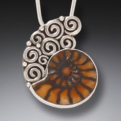 """""""Meditation"""" Moroccan Ammonite and Sterling Silver Pendant"""