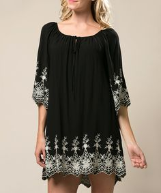 Andrée Black & Taupe Floral Embroidered Tie-Neck Shift Dress by Andrée #zulily #zulilyfinds