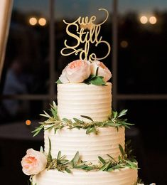 Anniversary Decor, Anniversary Cake Topper, We Still Do Cake Topper, Vow Renewal Cake Topper, Gold Cake T 50th Anniversary Cakes, 35th Wedding Anniversary, Anniversary Parties, Anniversary Ideas, Anniversary Party Decorations, Anniversary Surprise, Second Anniversary, Parents Anniversary, Golden Anniversary