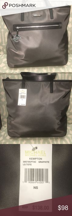 NWT Michael Kors Kempton Graphite Lg Tote New with tags nylon dark gray and black large tote with silver hardware. No flaws at all. Great for everyday school or office tote. Great gift idea. Michael Kors Bags Totes