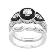 Three stone diamond and black onyx engagement ring