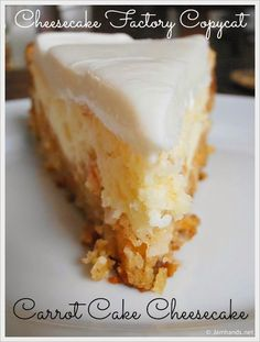 best cooking recipes: Cheesecake Factory Copycat - Carrot Cake Cheesecake