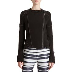 3.1 PHILLIP LIM Short Moto Jacket   Cashmere blend asymmetric front zip jacket in multi ribbed pattern with snap button band collar, zip vents at hem, and front vertical zip pockets. Imported. Cotton/cashmere. Dry clean.  Centre back measurement of 55 cm/21.5 inches  A chest measurement of...