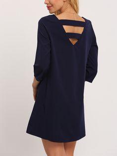 Robe col rond manches longues -bleu marine -French SheIn(Sheinside)