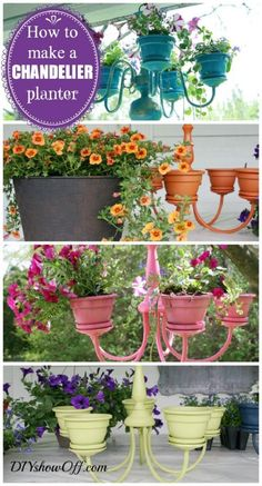 Planter Ideas, Planter Chandelier and Front Porch Ideas - Inspire Your Welcome This Spring! Fun upcycle craft on Frugal Coupon Living.