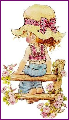 sarah key -- Sometimes I wish I had the time and a place with a fence like this to just sit and think. Sarah Key, Holly Hobbie, Sara Key Imagenes, Cute Images, Cute Pictures, Illustrations, Cute Illustration, Vintage Cards, Cute Drawings