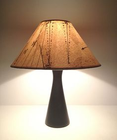 Lamp covered with repurposed upcycled vintage sewing by Patturn