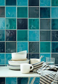 Turquoise, light and dark blue tiles - an ocean of blue nuances.