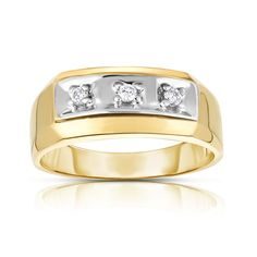 This classic design men's ring carries three round cut diamonds in prong setting. Featuring a high-polish finish and a lightweight design, this comfortable and easy-to-wear ring crafted in your choice of 14-karat white or yellow gold. The total carat weight may range from 0.10-0.12 carats. Mens Ring Designs, 3 Stone Rings, Ring Crafts, Yellow Gold Rings, Round Cut Diamond, Rings For Men, Wedding Rings, Engagement Rings, Color