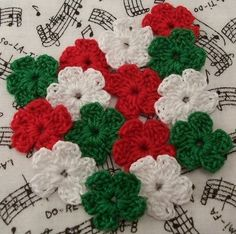 Crocheted Red White Green Flowers by FineThreads on Etsy, $3.75