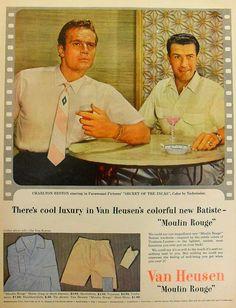 https://flic.kr/p/71nZQx | Van Heusen CHARLTON HESTON 1950s Men's Clothing AD Vintage Hollywood Advertisement Men | an ad from one of my vintage magazines