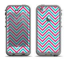 The Blue & Pink Sharp Chevron Pattern Apple iPhone 5c LifeProof Fre Case Skin Set