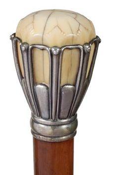 Tiffany Ivory and Silver Cane.  Ca.1902-1907