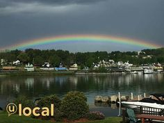 WMUR photo by Lawrence Snieder: Rainbow over Weirs Beach NH tues morning Summer Activities, Rainbows, State Parks, Touring, Skiing, Scenery, Boat, River, Outdoor