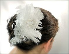 Deco Bridal Hairpiece Feather OOAK by Marcellefinery on Etsy, $48.00