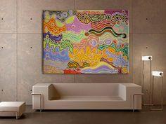 "Australian Aboriginal Art Painting by JUDY WATSON NAPANGARDI ""Mina Mina"" 205 x 154 cm. 2016 JW1732 #artwork #canvas #australia #home"