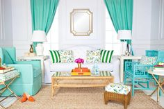 Want to make a big impact in your space? It's simple: Add bursts of color. You can easily swap out items like pillows and vases if you decide to change your color scheme down the road. - Home Decor - Home Style And Vintage Furniture, Outdoor Furniture Sets, Bamboo Furniture, Furniture Decor, Painted Furniture, Living Room Decor, Living Spaces, Dining Room, Living Colors