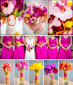 Gorgeous, love the idea of having different solid flower bouquets for each bridesmaids.