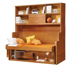 Hidden Bed from Salon Interiors. Salon Interiors brings you a bed and desk system in one piece of furniture. Small Room Decor, Small Rooms, Small Spaces, Bedroom Small, Murphy Bed Desk, Murphy Bed Plans, Desk Bed, Camas Murphy, Murphy Bed Hardware
