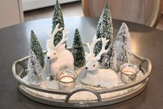 Tiny Winter White Christmas Centerpiece - Home with Holliday tisch tablett rund Winter White Christmas Centerpiece - Home with Holliday Christmas Signs Wood, Christmas Lanterns, Rustic Christmas, White Christmas, Diy Centerpieces, Christmas Centerpieces, Xmas Decorations, Xmas Theme, Christmas Themes