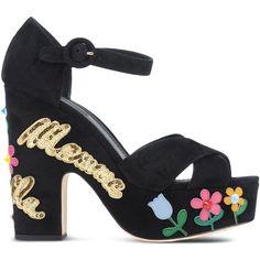 Dolce & Gabbana Espadrilles ($805) ❤ liked on Polyvore featuring shoes, sandals, black, black espadrilles, kohl shoes, dolce gabbana sandals, espadrille sandals and black sandals