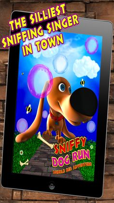 Super-Cute dog app, available for free on the iOS App Store. Hello! My name is Sniffy. Do you want to join me in the garden for some sniffing? Oh, I love sniffing. It's the best thing in the world. Help Sniffy Dog by tilting the screen to move around.  https://itunes.apple.com/us/app/sniffy-dog-run-bubble-bee/id625229980?mt=8