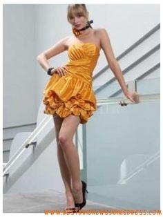 OrangeStraplessEmpireWaistTaffetaSummerCocktailDress Best Cocktail Dresses, Cocktail Dress Prom, Cocktails, Custom Made, Ruffles, Prom Dresses, Empire, Summer, Jewerly