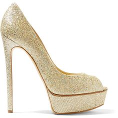 Casadei Glittered canvas platform pumps (£212) ❤ liked on Polyvore featuring shoes, pumps, gold, peep-toe pumps, peeptoe pumps, high heeled footwear, glitter platform pumps and slip on shoes