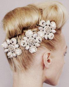 embellished #hair pins. #wedding #bridal