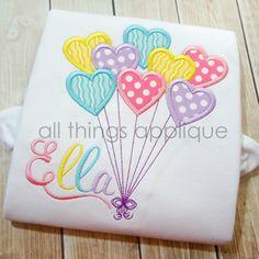 Heart Balloons www.allthingsapplique.com