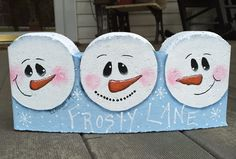 My hand painted Frosty Lane paver. Painted Bricks Crafts, Brick Crafts, Painted Pavers, Stone Crafts, Painted Rocks, Hand Painted, Cute Christmas Presents, Christmas Craft Fair, Christmas Projects