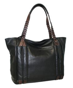 Look what I found on #zulily! Black Large Whip It Leather Tote by Nino Bossi Handbags #zulilyfinds