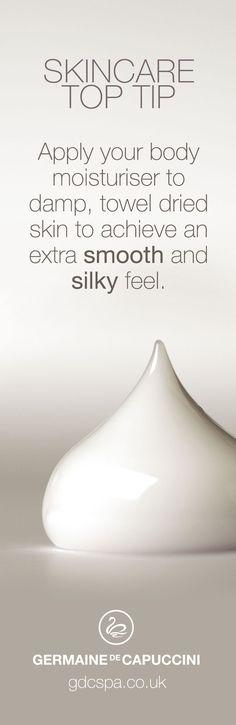 Skincare tip for applying you body moisturiser.