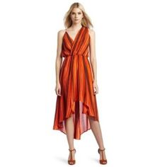 Rebecca Minkoff Women's Long Dress Orange Stripe Rebecca Minkoff Women's Long Dress  Size: 2 (roomy fit)  Features: •100% Silk •Dry Clean •Long dress •Printed dress  Brand-new with original, attached tags.  Retail Value $428 Rebecca Minkoff Dresses