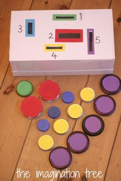 A counting and posting game with bottle tops and lids. This is great for fine motor skills and spatial problem solving too.
