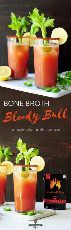 Get the health benefits of bone broth in your next cocktail! This Bloody Bull recipe gives you the perfect combination of a Bloody Mary and a Bullshot, with savory and nutritious bone broth added in. Healthy Cocktails, Fun Cocktails, Cocktail Recipes, Drink Recipes, Healthy Gluten Free Recipes, Vegetarian Recipes Easy, Healthy Food, Paleo, Delicious Recipes