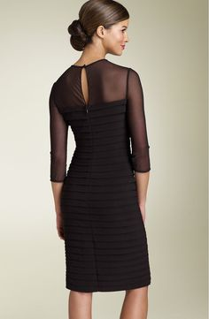 Free shipping and returns on Adrianna Papell Illusion Yoke Pleated Dress (Regular & Petite) at Nordstrom.com. Allover shutter pleats lend subtle, sophisticated texture to a figure-flattering sheath dress with an illusion bodice and sleeves. A back keyhole finishes the understated style.