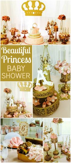 I'm loving this lovely pink and gold princess baby shower! See more party ideas at CatchMyParty.com!