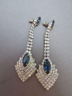 "VTG Rhinestone Earrings Dangle Blue Navettes 3"" Long Pierced Prong Set Quality #Unbranded #Dangle"