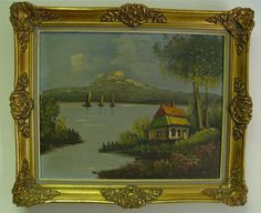 """Original Framed Oil Painting Bucolic Countryside Landscape Artist Verong 20x16"""""""